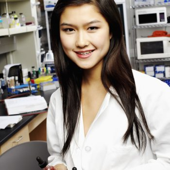 Female student in a science lab
